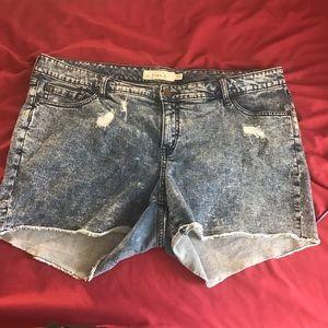 Torrid acid wash distressed jean shorts